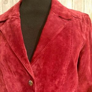 Liv a Little Womens Red Suede Leather Blazer